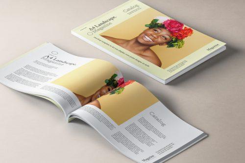 Assets | A4 Landscape Magazine Mockup v2 | Psd Mock Up Templates