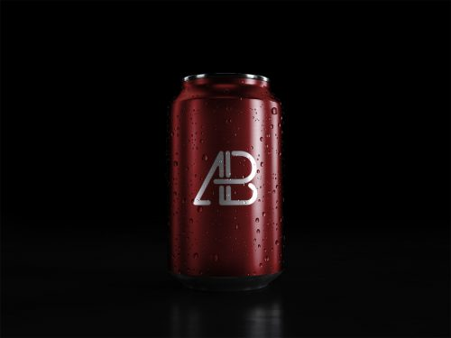 Asset   Soda Can With Water Drops Mockup
