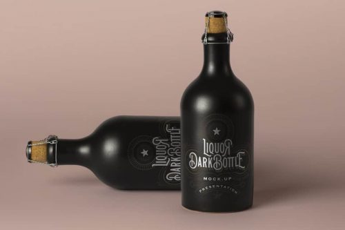Assets | Dark Psd Liquor Bottle Mockup Vol2 | Psd Mock Up Templates