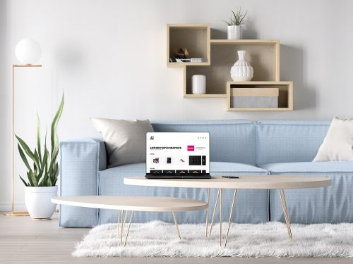 Asset | Bezel-Less MacBook Pro in Living Room Mockup