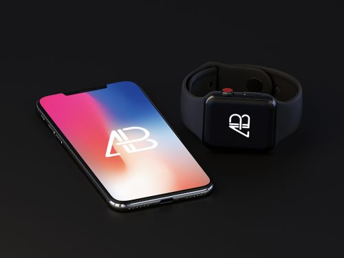 Asset | iPhone X and Apple Watch Series 3 Mockup