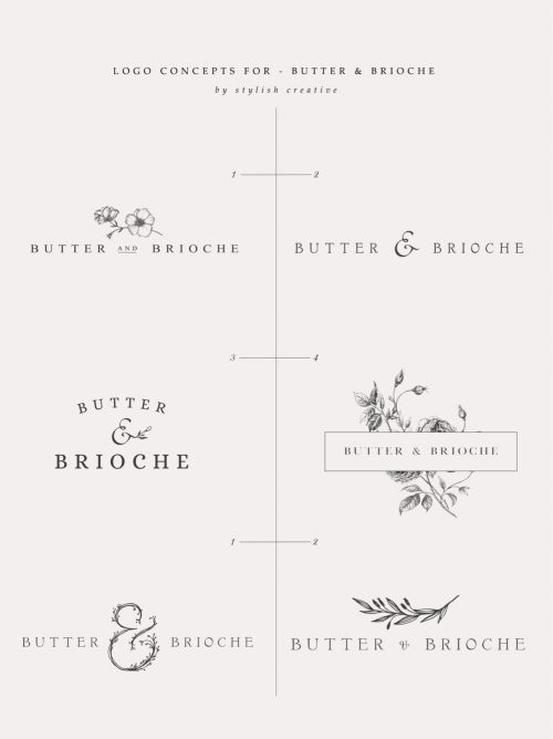 Logo | Butter and Brioche – Wordmark, logomark constructions