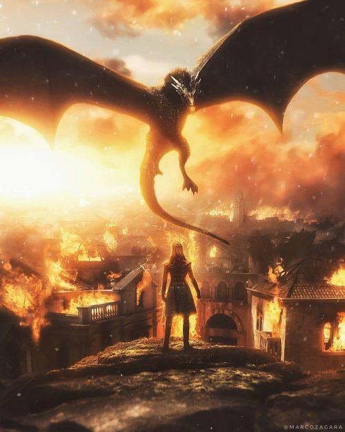 @MarcoZagara | Graphic Design | Arya Stark vs Drogon – Game of Thrones Art