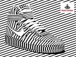 Alex Trochut | Foot Locker | Nike, Converse Shoe Advertisement Poster | Black and White Stripes 005