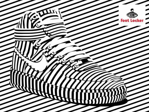 Alex Trochut   Foot Locker   Nike, Converse Shoe Advertisement Poster   Black and White Stripes 005