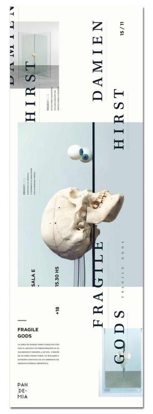 Damien Hirst | Fragile Gods | Web Design Layout | Poster