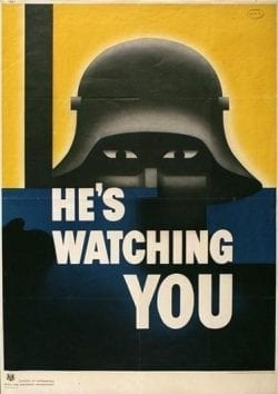 Propaganda poster – he's watching you – soldiers spy in the night