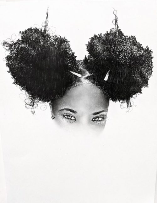 Power Puff – Graphite on paper – black and white
