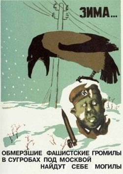 Russian propaganda poster – crow on a dead soldier in the snow