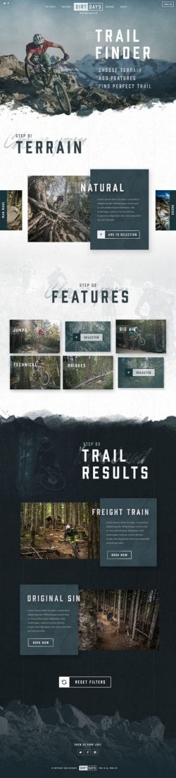 Dirt Days Mountain Biking Web Design Layout