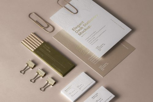 Elegant Psd Desk Stationery Mockup