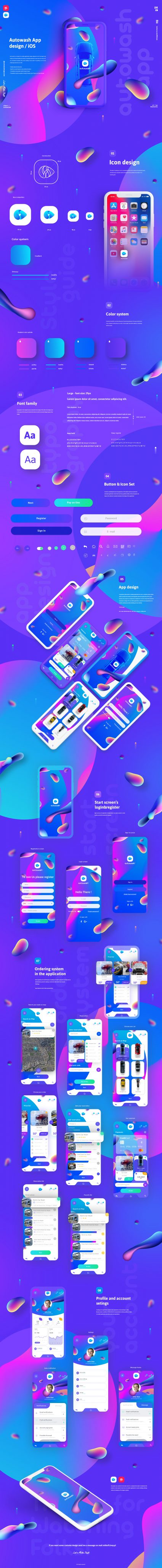 Autowash iOS app design / UI UX elements by Mariusz Mitkow
