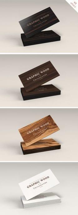 Asset   Wooden Business Cards MockUp