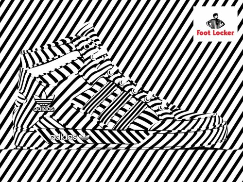 Alex Trochut | Foot Locker | Nike, Converse Shoe Advertisement Poster | Black and White Stripes 001