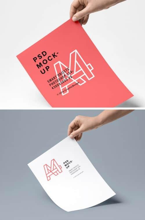 Asset | A4 Paper PSD MockUp #4