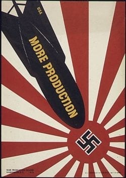 Propaganda poster – destroy japan and germany – more bomb production