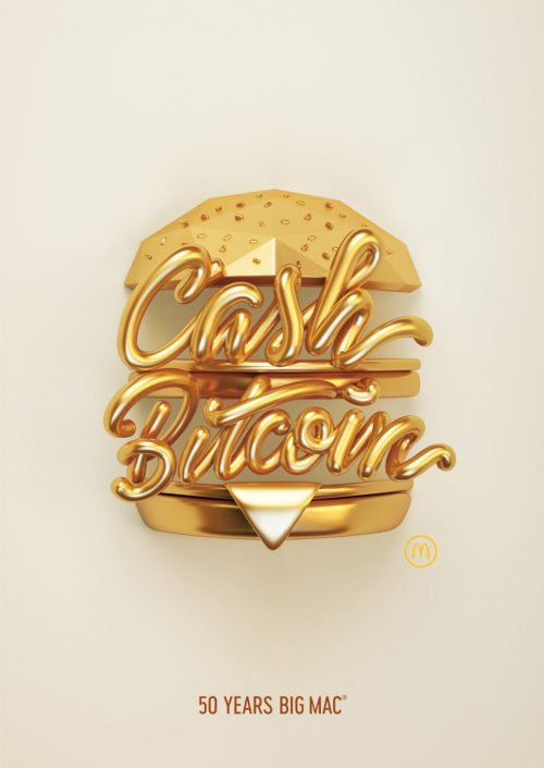Alex Trochut | 50 Years of Big Mac Illustrations and Graphic Design 3D Gold Cash Bitcoin Burger 002