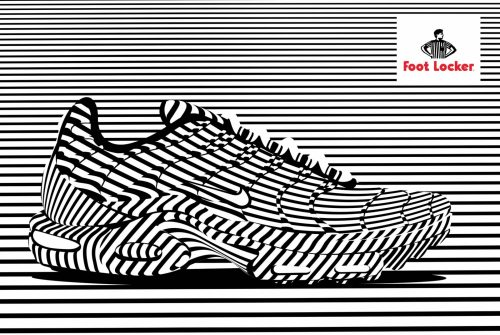 Alex Trochut | Foot Locker | Nike, Converse Shoe Advertisement Poster | Black and White Stripes 003