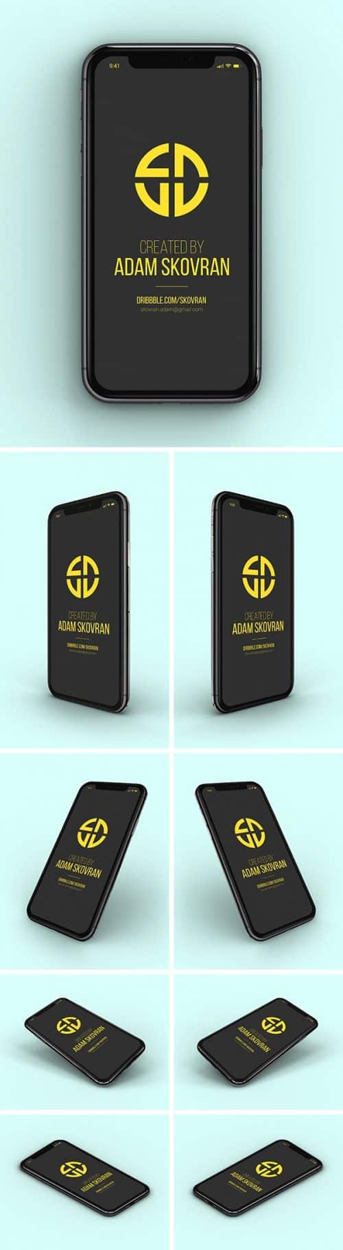 Asset | iPhone X MockUps – 9 Angles