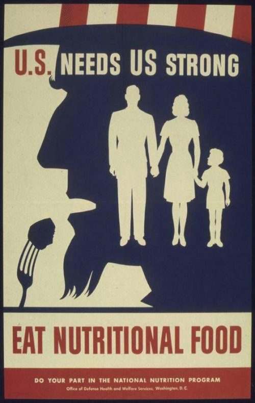American Propaganda Poster – U.S needs us Strong. Eat Nutritional Food – Uncle Sam