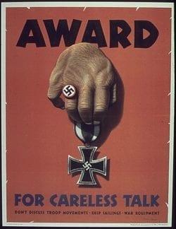 Propaganda – Award for Careless Talk – World War 2 Nazi Germany Medal Poster