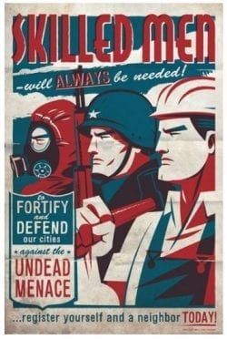 Skilled Men Needed – Propaganda style vintage poster