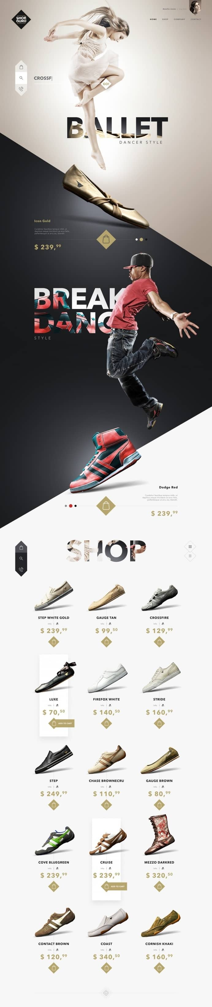 Shoe Guru – Online Shoe Shop Design – Ballet to Sneakers