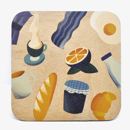 Augustin Batignolles | UV-prints on Wood Menu Illustration