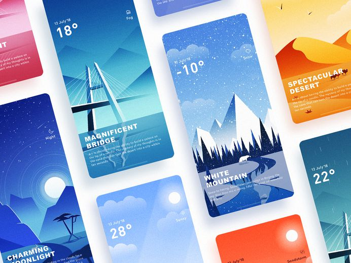 Weather Interface Illustrations
