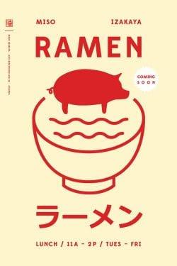 Miso Ramen Izakaya Minimal Graphic Design Poster