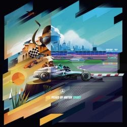Illustration | F1 German GP poster by Mercedes Automobile