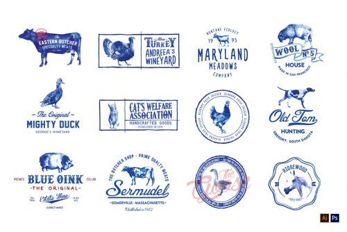 12 Handpainted Farm Animal Logos