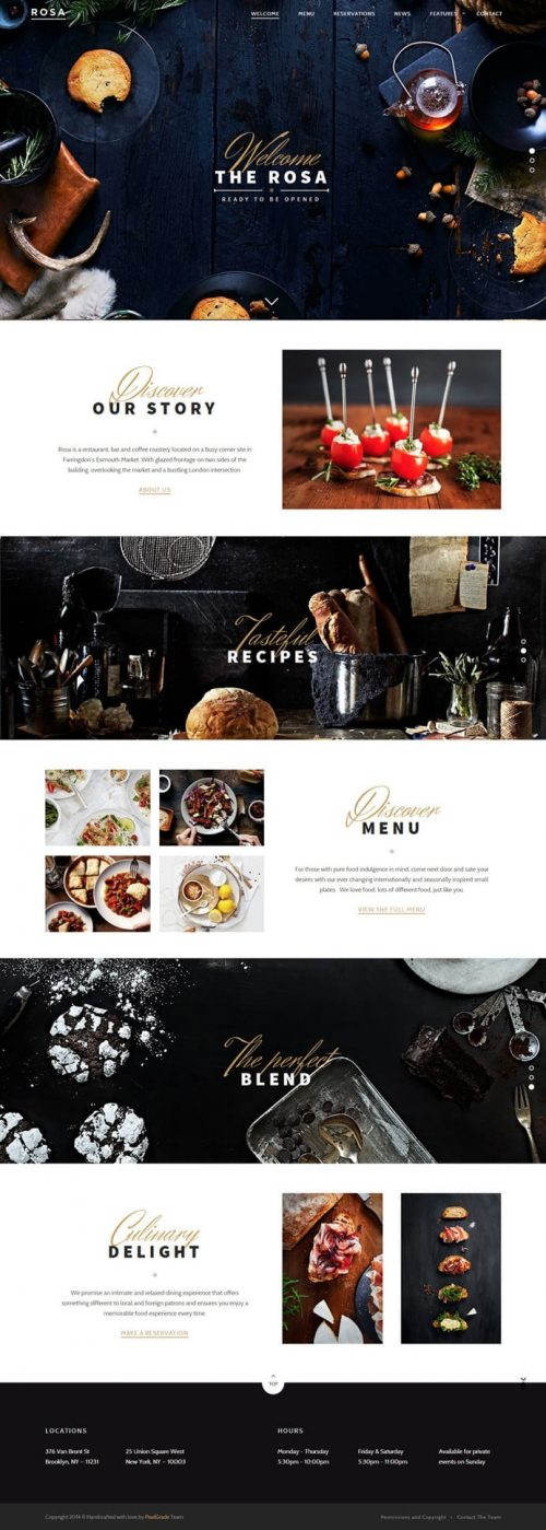 The Rosa – Restaurant Web Design – UI/UX