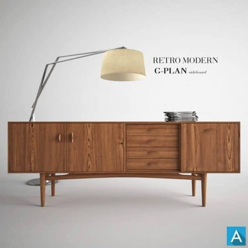 Retro-Modern Sideboard 3D Model