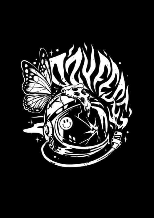 Ozyfest Illustrations – Astronaut Butterfly Black and White 003