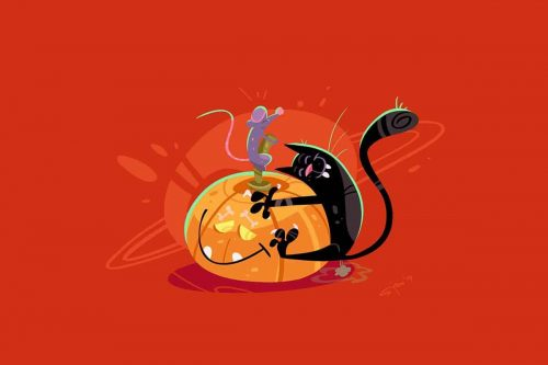 Svilen Petrov Halloween Illustrations Cat Mouse 005