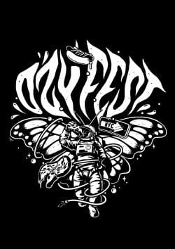 Ozyfest Illustrations – Astronaut Butterfly Black and White 001