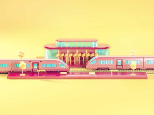 3D Isometric Illustrations by Sariselka – Train Station