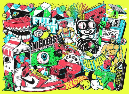 Illustrations by Alejandro Parrilla – The 90s – sneakers, jordands, snickers, felix  ...
