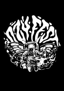 Ozyfest Illustrations – Astronaut Butterfly Black and White 002