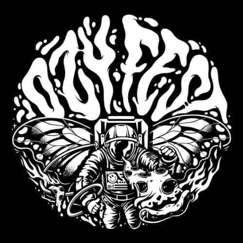 Ozyfest Illustrations – Astronaut Butterfly Black and White 005