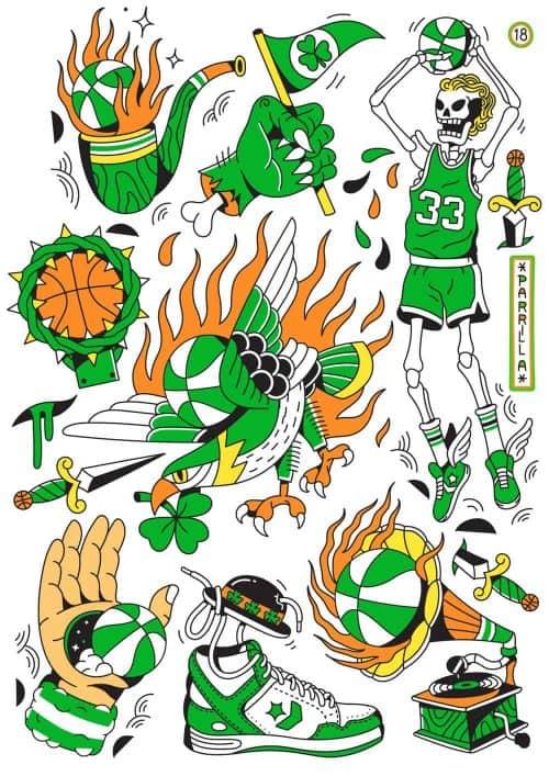 Illustrations by Alejandro Parrilla Basketball Larry Bird