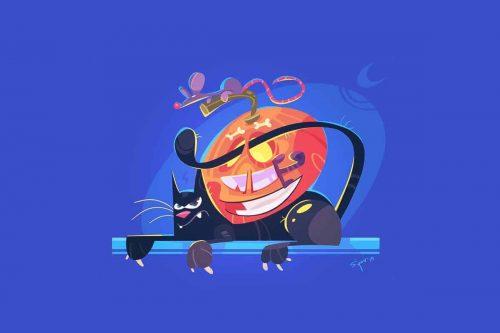 Svilen Petrov Halloween Illustrations Cat Mouse 002
