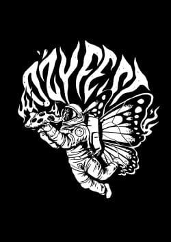 Ozyfest Illustrations – Astronaut Butterfly Black and White 004