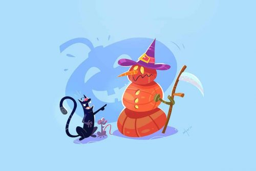 Svilen Petrov Halloween Illustrations Cat Mouse 003