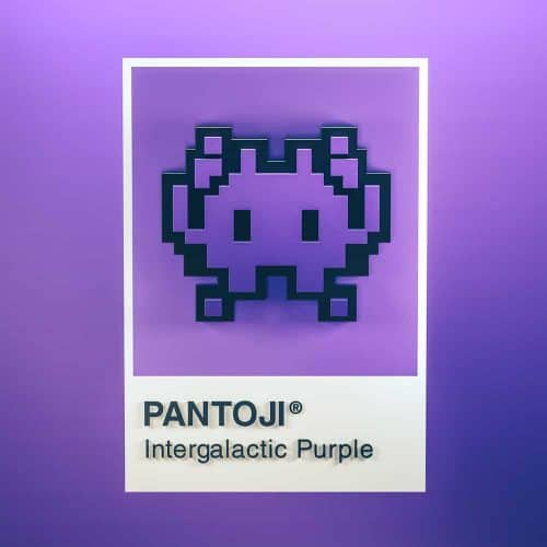3D Illustrations by Sariselka – Pantoji Space Invader Itergalactic Purple Emoji Pantone Color