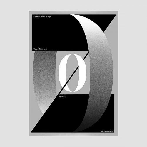 Stefan Hurkemann – Swiss Poster Bauhaus Design – A Zoo is a Prison, A Cage