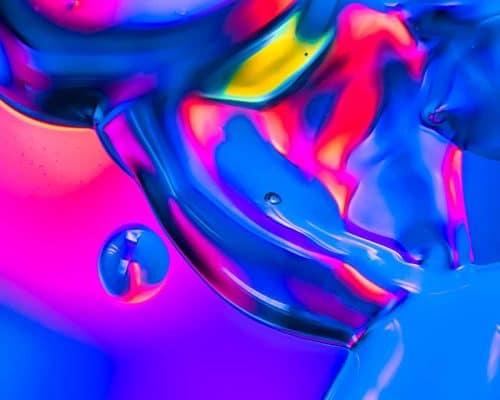 References | Macro Vibrant Neon Liquid Gel Light Refraction – Vaporwave Style