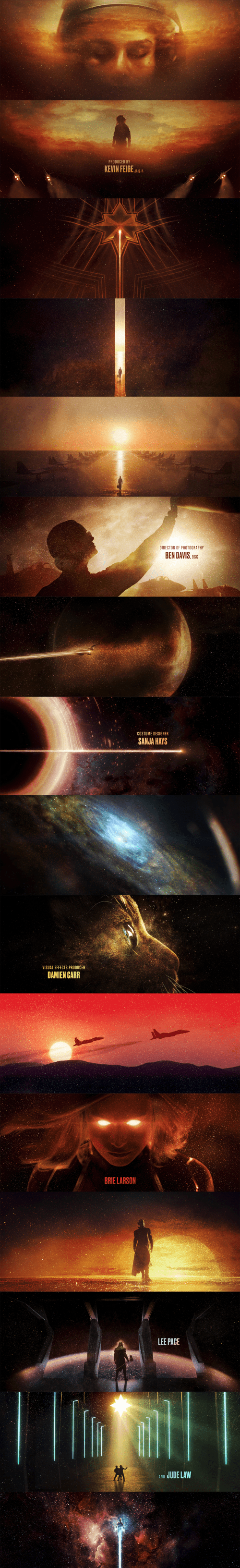 Captain Marvel End Title Sequence Style Frames