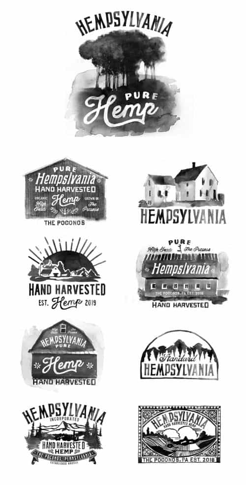 Glenn Wolk – Black and White Water Color Painting Style Designs – Hempsylvania Logo  ...